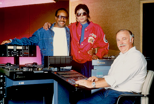 Michael Jackson and Quincy Jones in studio