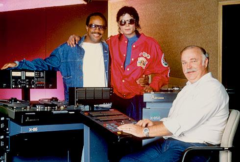 Michael Jackson and Quincy Jones in studio